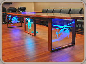 solid cherry conference table with tempered glass